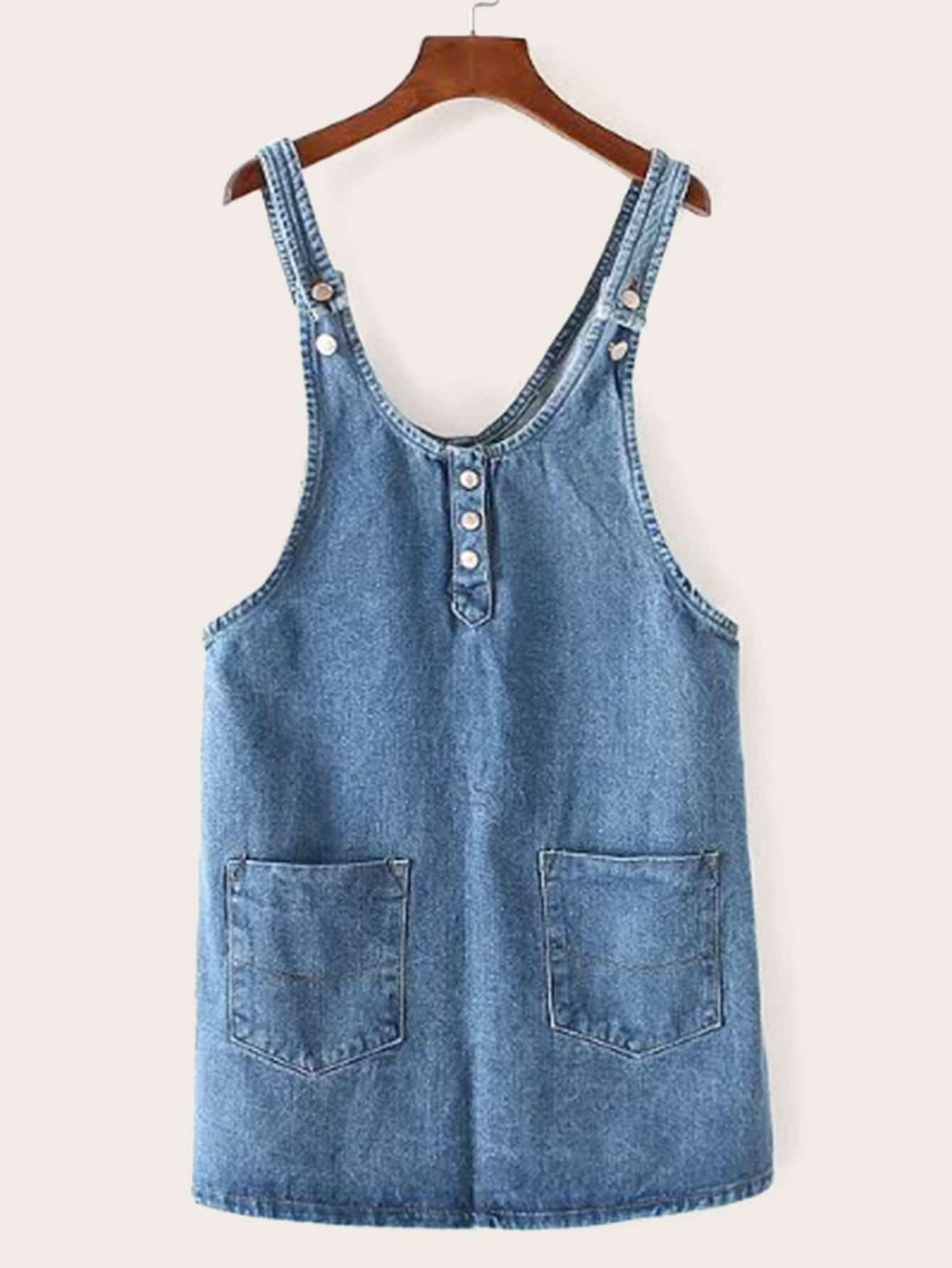 Однотонное джинсовое платье-сарафан с карманом SheIn