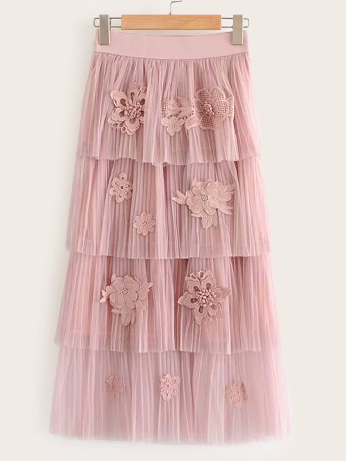 Юбка  Розовый цвета