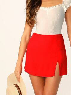 Side Slit Solid Zipper Mini Pencil Skirt
