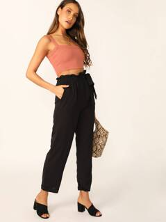 Paperbag Waist Tie Slim Fit Cuffed Hem Pants