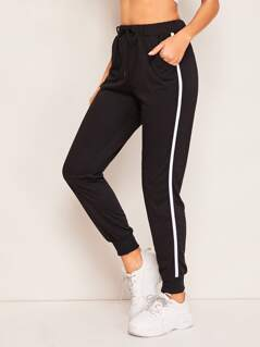 Drawstring Waist Slant Pocket Striped Sweatpants