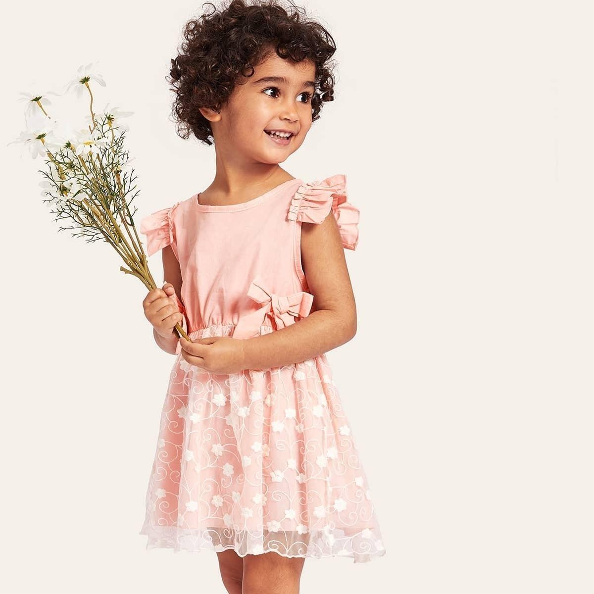 SHEIN / Kleinkind Mädchen Kleid mit Schleife vorn und Raffung