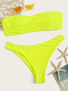 Neon Yellow Knot Back Bandeau With High Cut Bikini Set