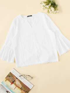 Cutout Bell Sleeve Solid Top