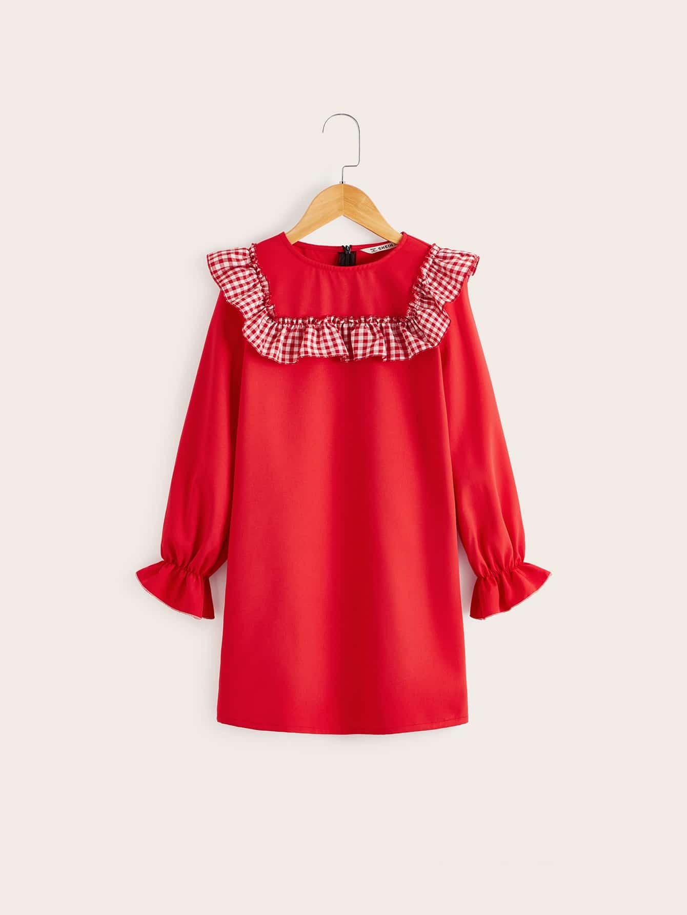 Платье-туника в клетку с оборками для девочек от SheIn