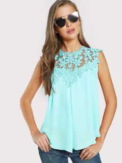 Keyhole Back Lace Appliques Sleeveless Top