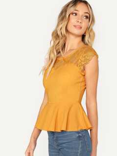 Lace Yoke Sweetheart Peplum Top