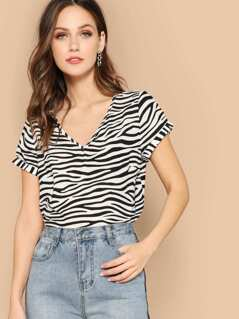 Roll Up Sleeve Zebra Print Top