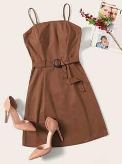 Waist Belted Zip Cami Dress
