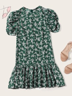 Ruched Puff Sleeve Pephem Ditsy Floral Dress