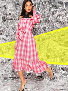 Contrast Cold Shoulder Belted Ruffle Hem Plaid Dress