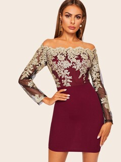 Lace Embroidered Scallop Trim Bardot Dress