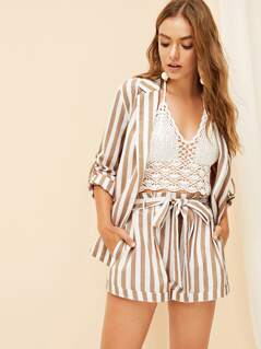 Paperbag Waist Slant Pocket Striped Shorts