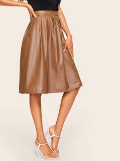 Boxed Pleated PU Leather Skirt