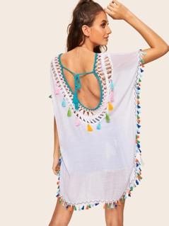 Tie Back Tassel Detail Crochet Yoke Cover Up