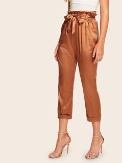 Paperbag Waist Rolled Hem Belted Satin Pants