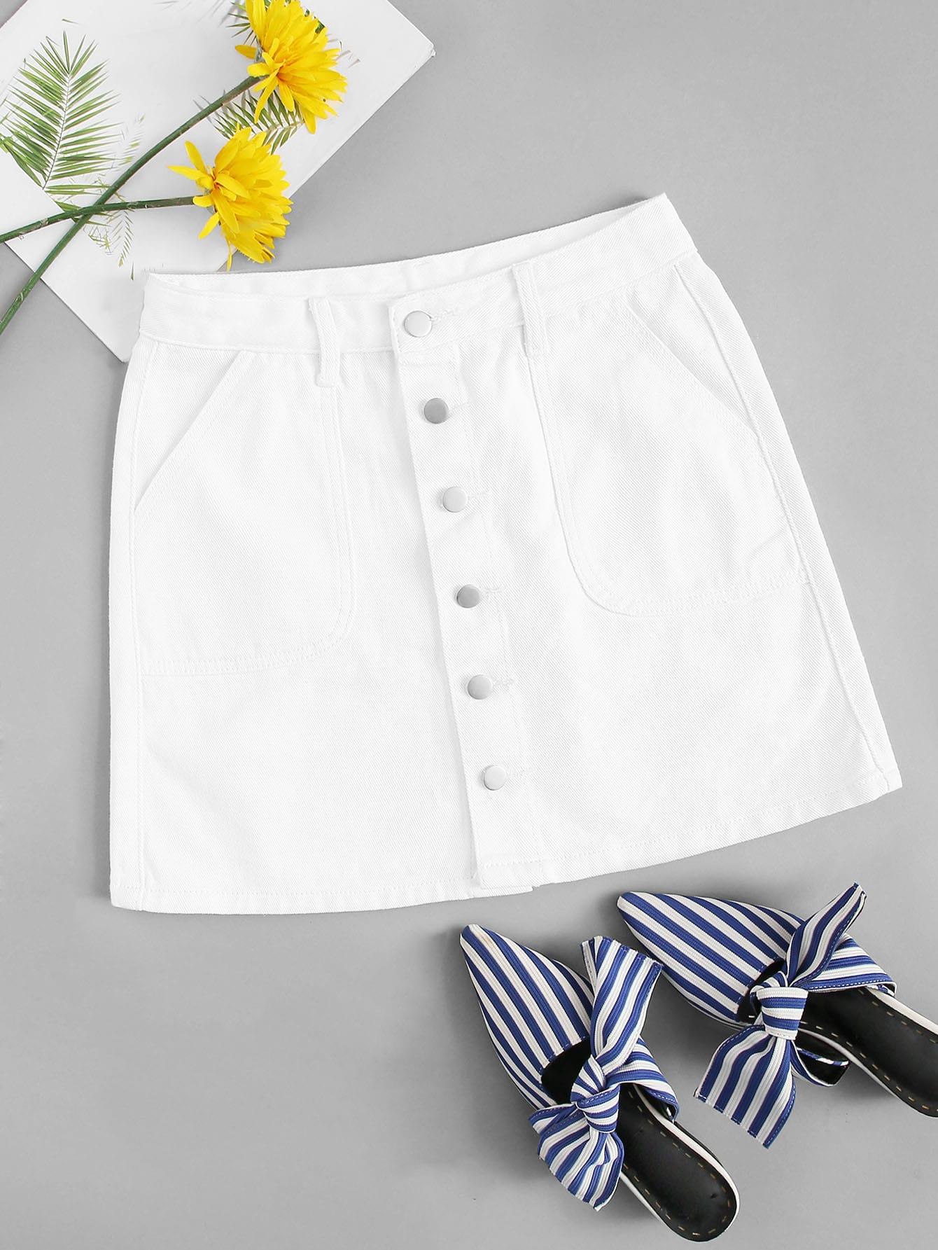 Джинсовая юбка  Белый цвета