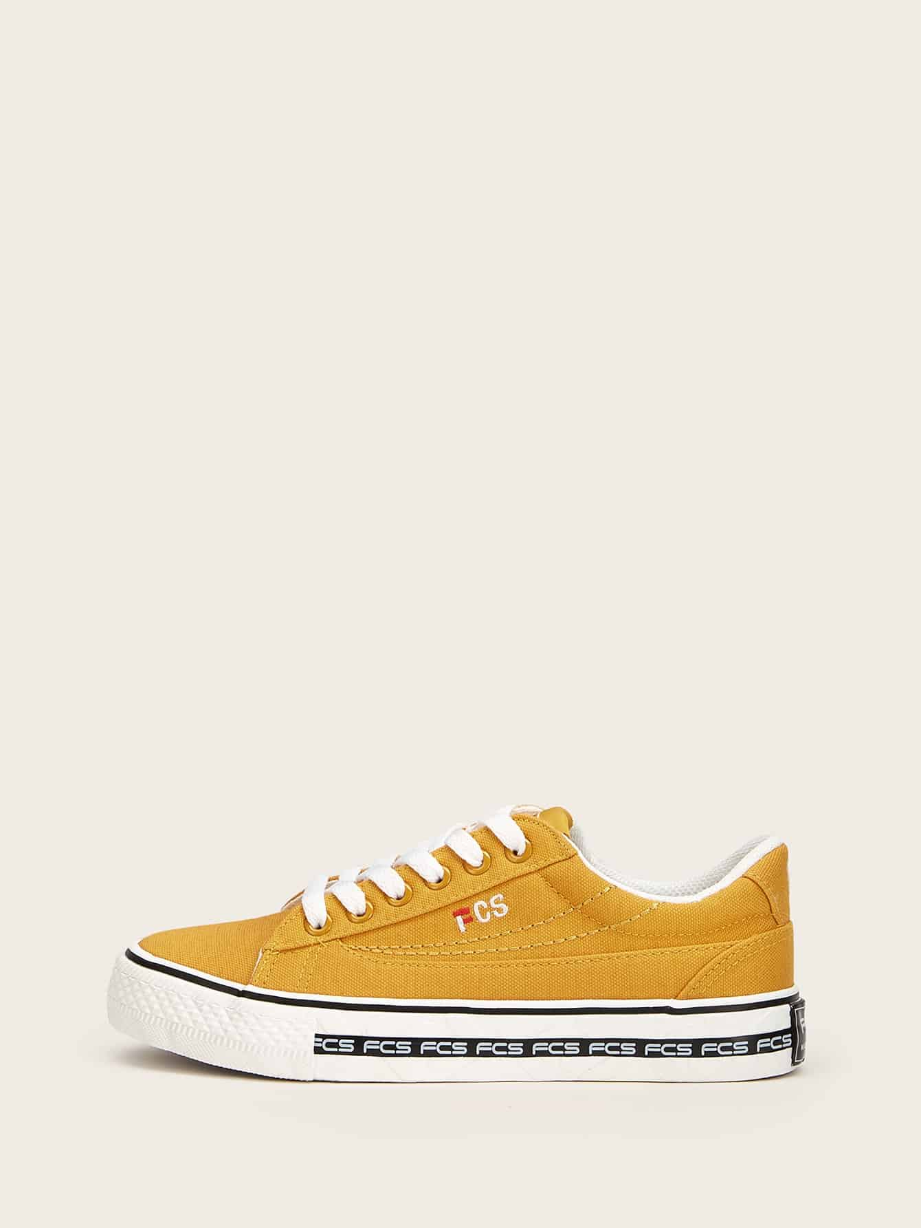 Lace-up Front Canvas Sneakers null