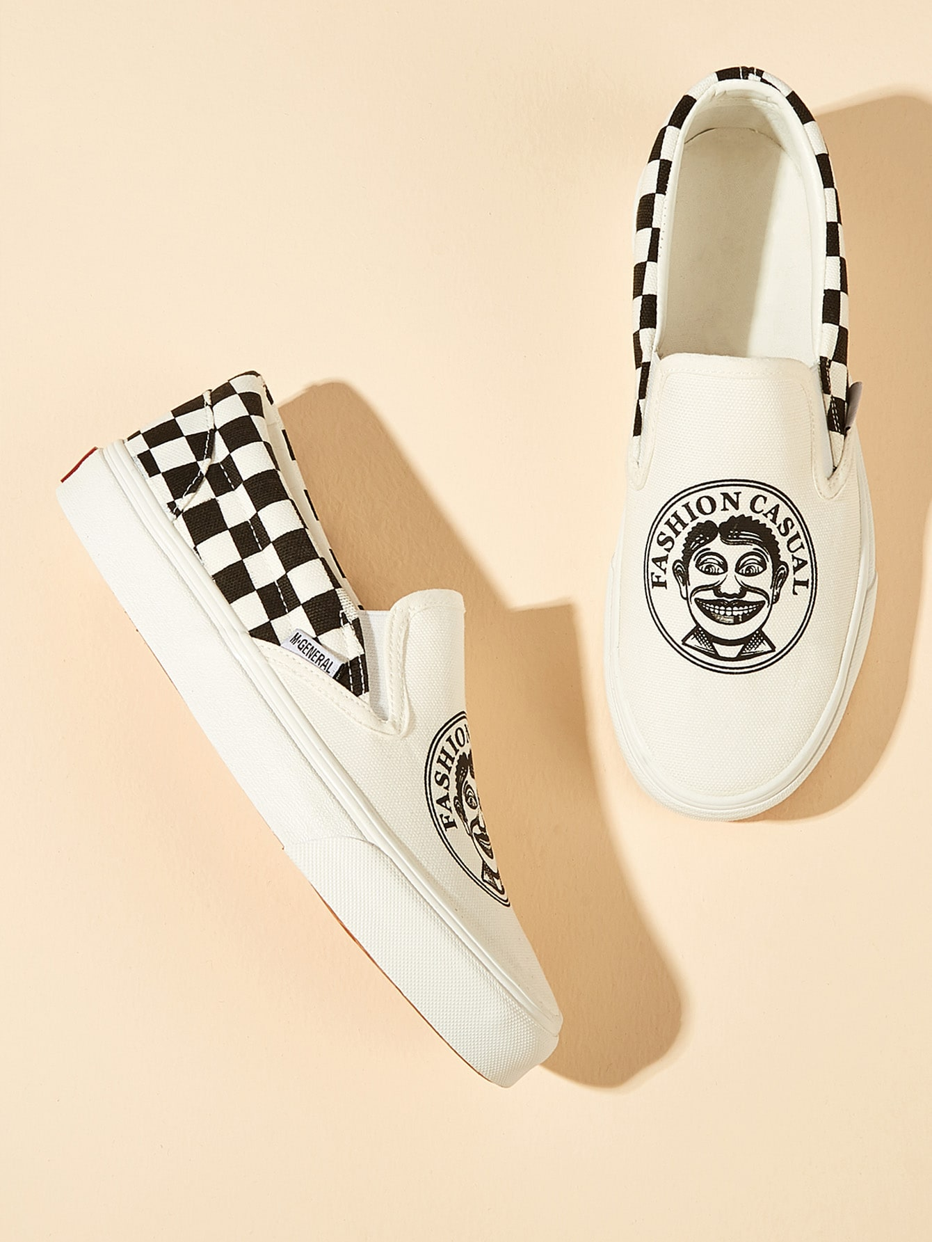 Gingham Figure Print Slip On Sneakers null