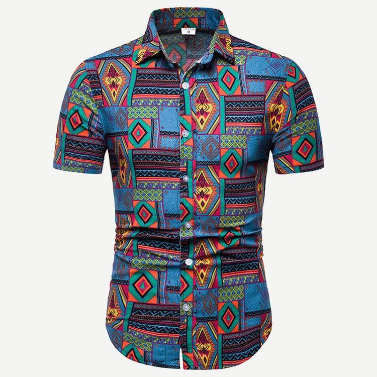 Veel kleurig Boho Geometrisch Overhemden voor heren