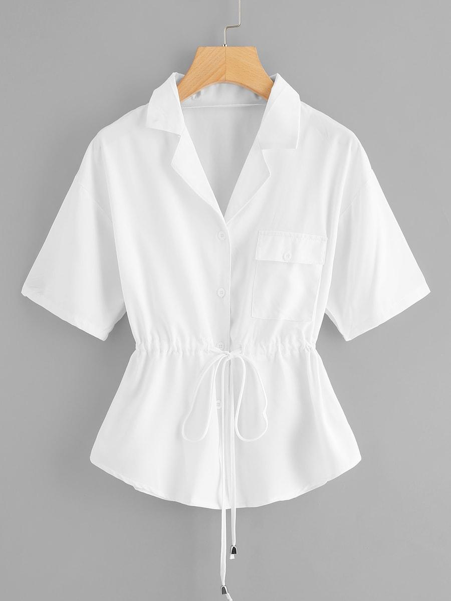 Купить Размера плюс блуза с карманом и кулиской на талии, null, SheIn