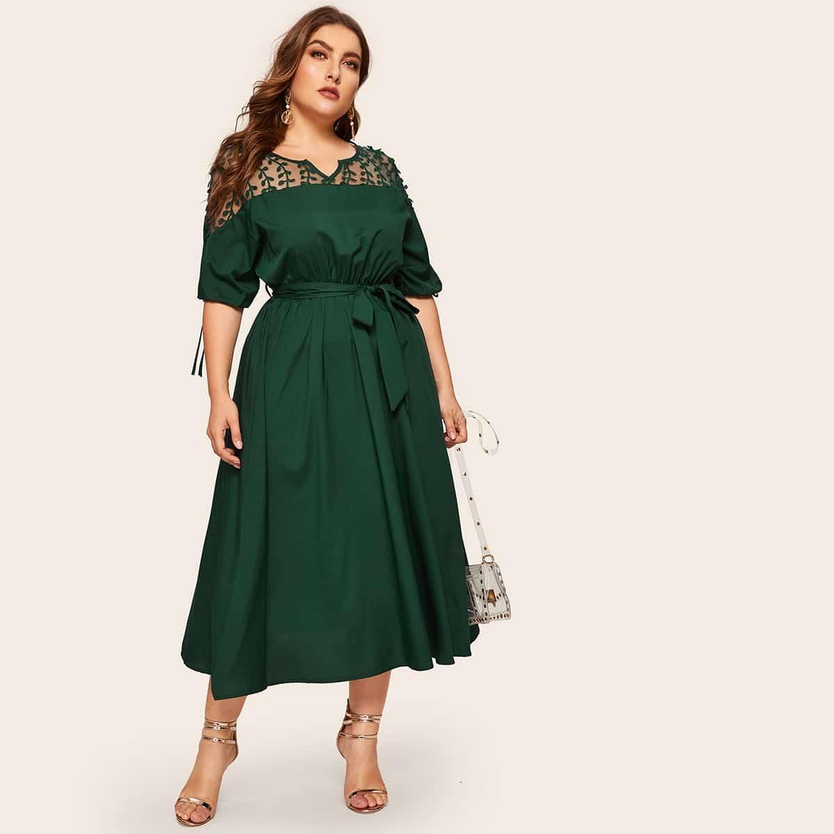 Groen Elegant Vlak Grote maten jurken Contrast mesh