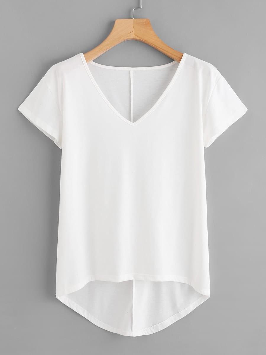 Купить Размера плюс асимметричная однотонная футболка, null, SheIn