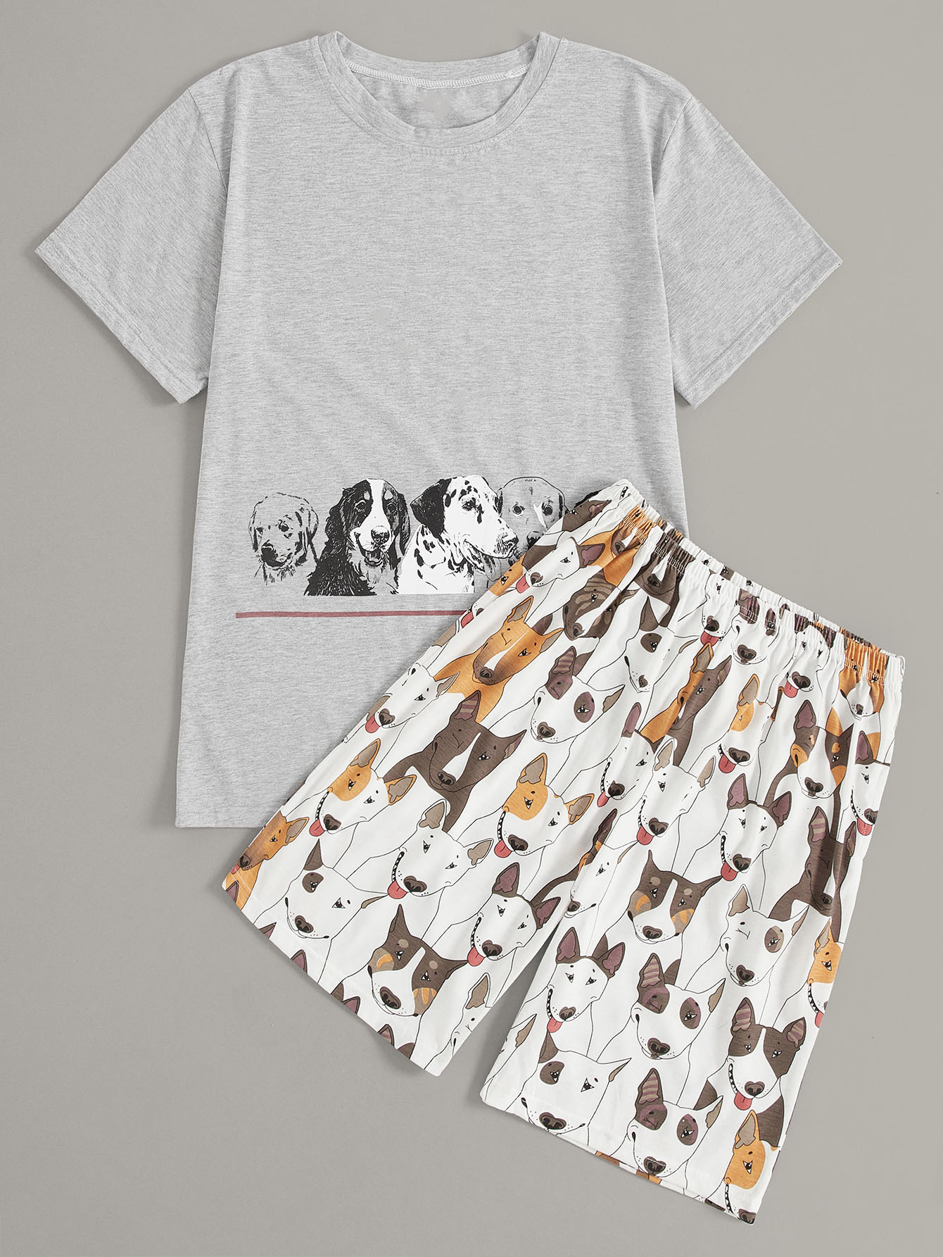 Men Dog Print Pajama Set null