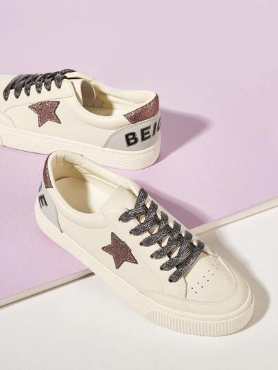 SheIn / Lace-up Front Glitter Detail Sneakers