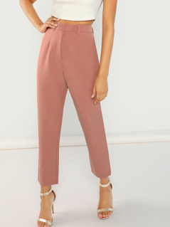 High Waist Solid Peg Leg Pants