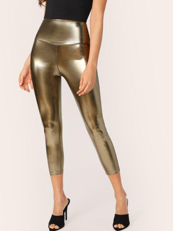 8edcddf8ce8bb Wide Waistband Metallic Leggings | MakeMeChic.COM