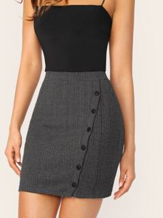Button Up Rib-knit Bodycon Skirt