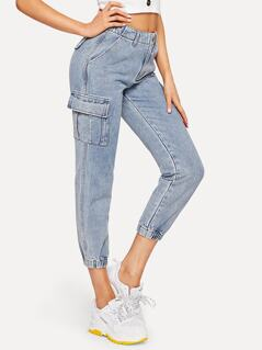 Bleach-Dye Flap Pocket Crop Jeans
