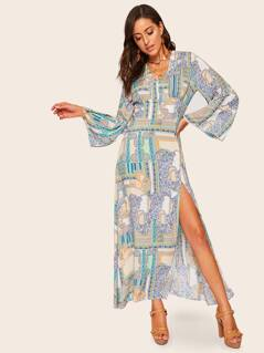 Open Back Paisley Print Slit Dress