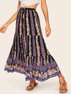 Floral Stripe Print Tiered Skirt