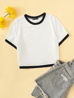 Crop Ringer Trim T-shirt
