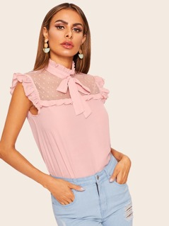 Dot Mesh Insert Frilled Tie Neck Shell Top