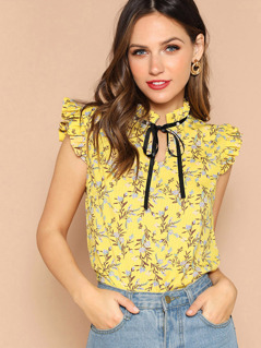 Tie Neck Ruffle Sleeve Floral Top