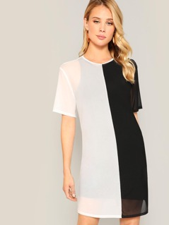 Two Tone Sheer Tunic Dress Without Inner Tank