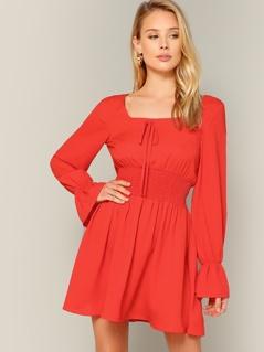 Bow Front Shirred Waist Flounce Sleeve Dress