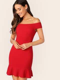 Zip Back Off Shoulder Ruffle Hem Fitted Dress