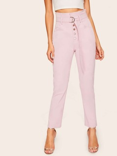 Paperbag Waist D-ring Belted Pants