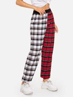 Cut-and-sew Plaid Tapered Pants