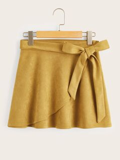 Wrap Trim Belted Suede Skirt