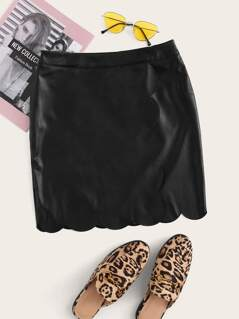 Scallop Edge Leather Look Skirt