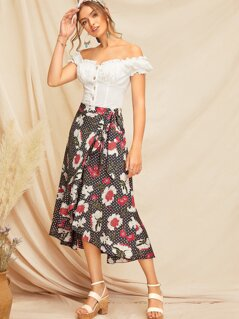 Ruffle Trim Floral & Geo Wrap Skirt