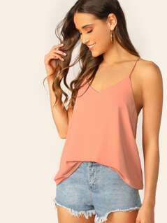 V-Neck Double Layered Cami Tank Top