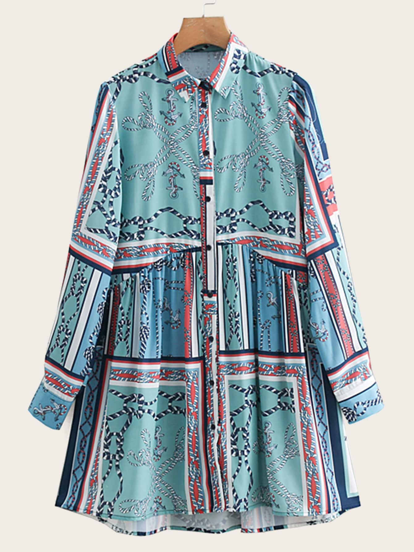 Купить Платье-рубашка с графическим принтом, null, SheIn