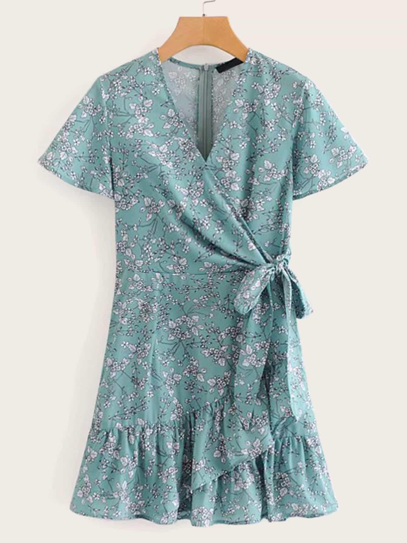 Купить Цветочное платье с бантом и оборкой, null, SheIn