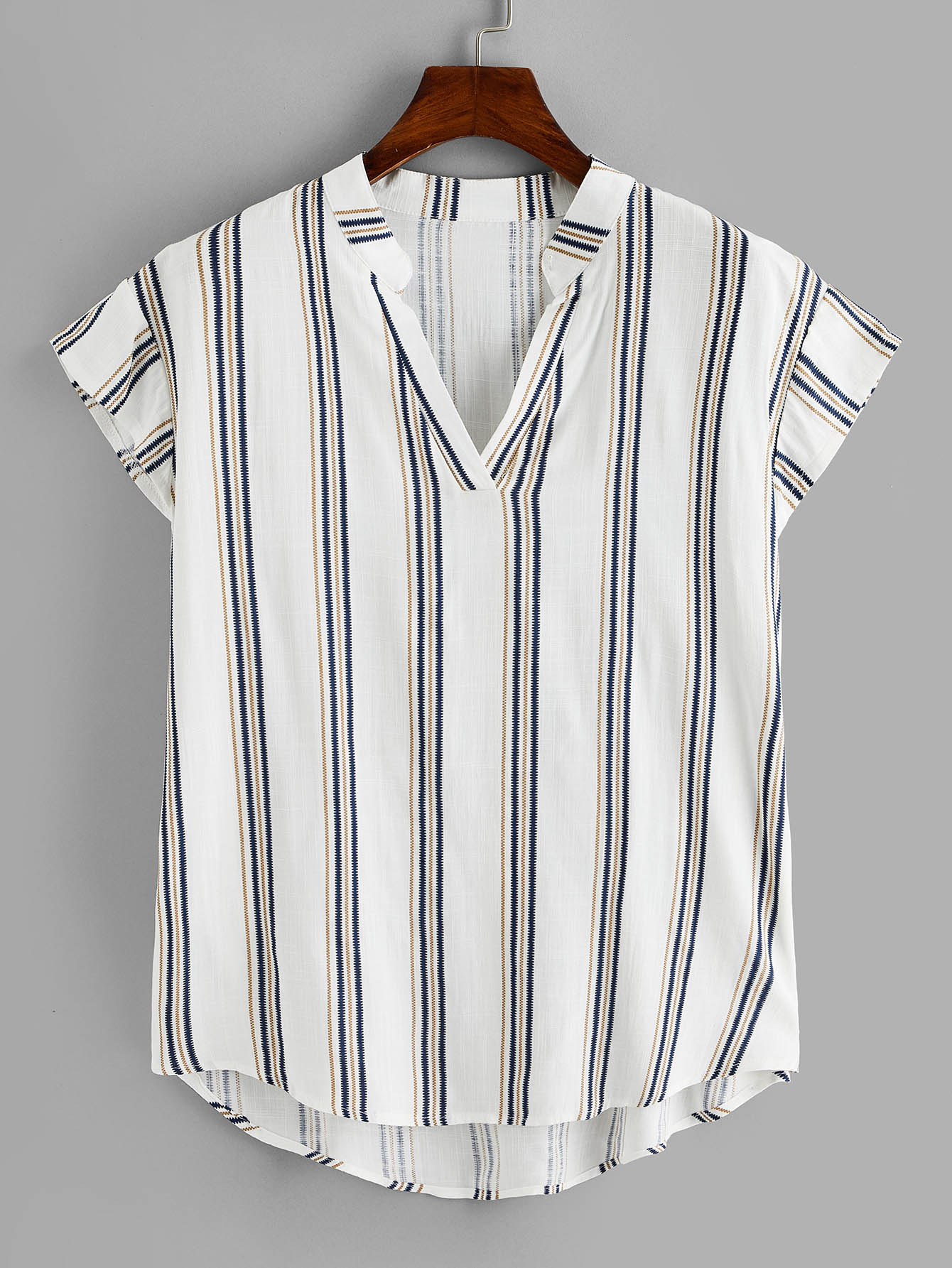 Plus Dip Hem Striped V-neck Blouse null